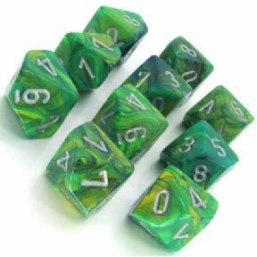 Green & Silver Lustrous D10 Ten Sided Dice Set